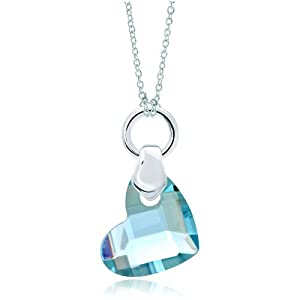 Pugster Silver Aquamarine Blue Crystal Diamond Accent Heart Love Link Charm Charms Bracelet & Pendant Necklace