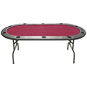 Trademark Poker Full Size Texas Hold'em 83 x 44-Inch Poker Table (Burgundy Felt) Picture
