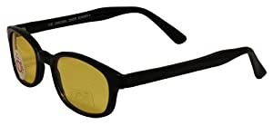 Pacific Coast Original KD's Biker Sunglasses (Black Frame/Yellow Lens)