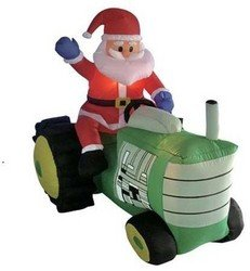 5 Foot Long Christmas Inflatable Santa Claus Driving Tractor Yard D?cor