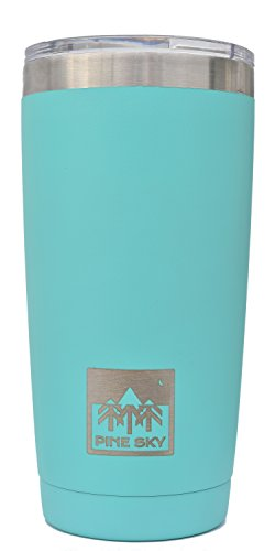 20oz Traveler Tumbler by Pine Sky, Premium Stainless Steel Vacuum Insulated Cup Keeps Drinks Super Hot and Ice Cold - Minty Fresh