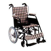 車椅子アルミ超軽量介助式 座幅38cm ブラウンチエック