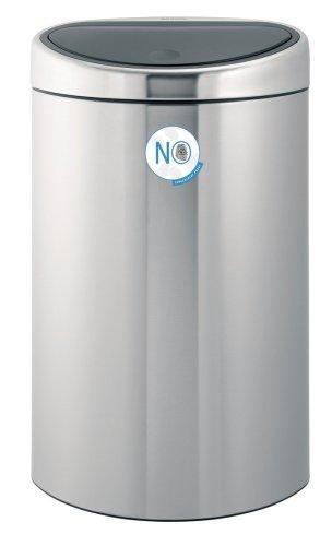 Brabantia Touch Bin Twin Bin with 10 Litre and 23 Litre Plastic Buckets, Matt Steel Fingerprint Proof