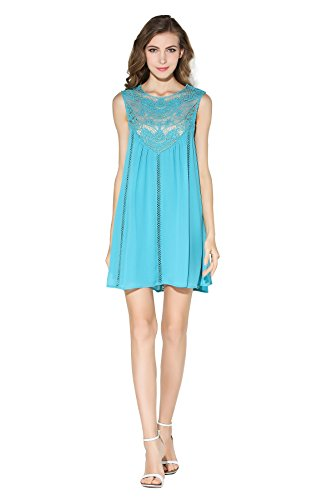 Little Smily Women's Casual Loose Lace Splicing Chiffon Mini Babydoll Flared Dress, Teal, XL
