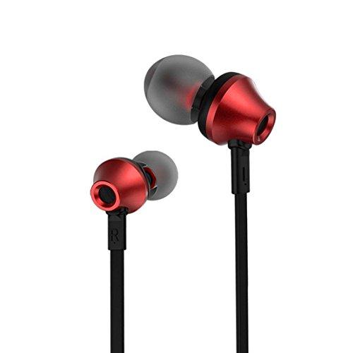 イヤホン 高音質アンバー テクノロジー 610D 3.5ミリメートル 超低音 ノイズ分離 もつれフリーのコードインイヤーイヤホン マイク付きステレオヘッドセット (レッド)