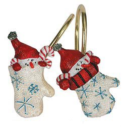 Warm Winter Wishes Christmas Shower Curtain Hooks