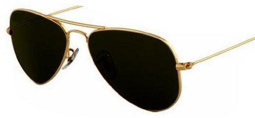 Gold Metal Aviator Sunglasses, Black Lenses,