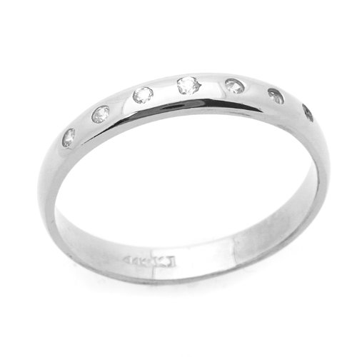 Little Treasures 14 ct Engagement Ring 0.1ctw CZ Cubic Zirconia Wedding Band White Gold Ring
