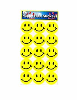 15 piece Happy Face Stickers - Case Pack 48 SKU-PAS237901