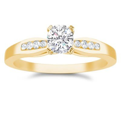 0.60 Carat Discount Diamond Engagement Ring with Round cut Diamond on 14K Yellow gold