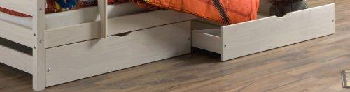 Set 2 tiroirs de rangement sous-lit FELIX-2, en pin lasuré blanc