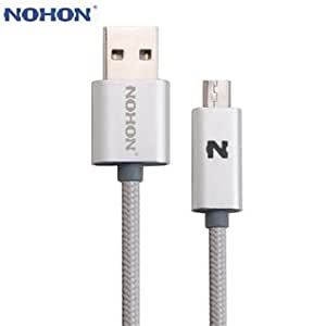 Original NOHON 100cm Double Side Plug LED Light Nylon Weaving Style Charging Data Cable Silver