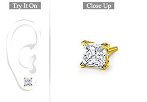 Fine Jewelry Vault UBMER18YGSQ100D Mens 18K Yellow Gold- Princess Cut Diamond Stud Earring - 1.00 CT. TW.