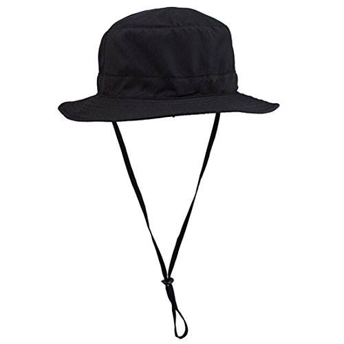 Voberry® Fishing Outdoor Cap Canvas Woodland Military Large Brim Boonie Hat with String (Black) (Women Army Uniforms)