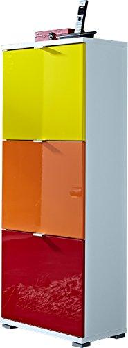 Germania-8795-84-COLORADO-Schuhschrank-MDF-Hochglanz-Spanplatte-wei-gelb-orange-rot-53-x-132-x-30-cm