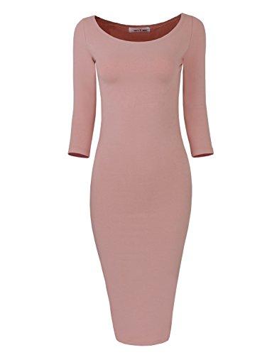 Tom'S Ware Womens Classic Slim Fit Bodycon Midi Dress Twfr049-D059-Indipink-Xl/Xxl