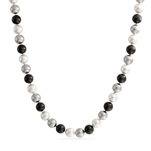 Bling Jewelry A Grade 10mm Grey Black White South Sea Shell Pearl Necklace 18in