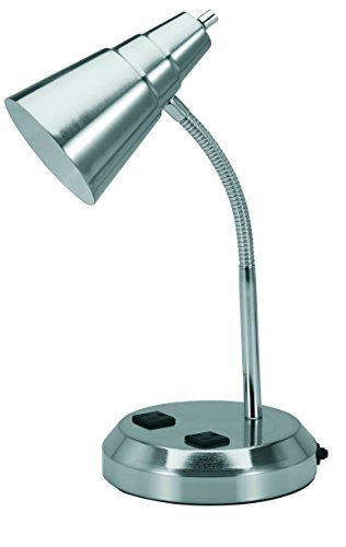 V-LIGHT Charging Outlet Desk Lamp with 2 Grounded 2.5A Power Outlets