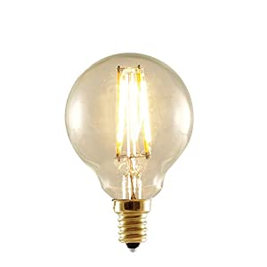 Bulbrite 776506 25W Equivalent LED2G16/22K/FIL-NOS 2W LED Nostalgic Globe Bulb with Candelabra Base, Antique Finish