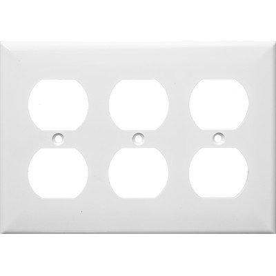 3 Gang Duplex Lexan Receptacle Wall Plates In White