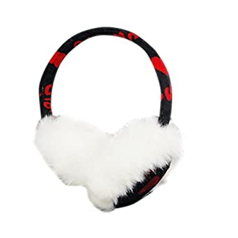 White Faux Fur Red Letter Earmuffs Ear Warmer for Lady