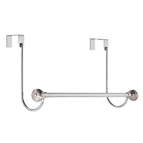 InterDesign York Over-the-Door Bath Towel Bar Holder Rack, Chrome/Stainless