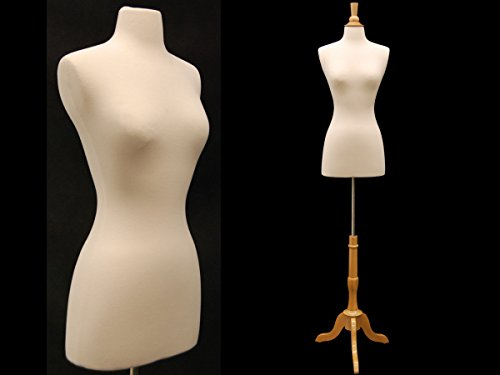 (Jf-Fwpw-4+Bs-01Nx+Cap-F42Nrx) New Design Female Body Form Size 2-4 White Cover W/Triple Wooden Base, Also Available W/Black Base