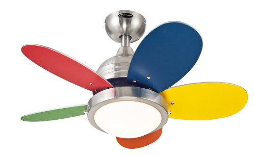 Westinghouse 7247500 Roundabout Two-Light Reversible Five-Blade Indoor Ceiling Fan, 30-Inch, Brushed Nickel Finish with Opal Frosted Glass