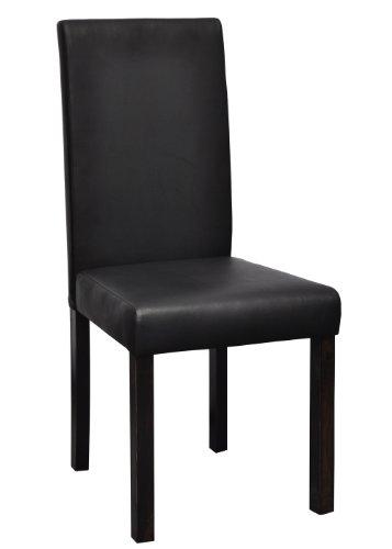 2 pz sedie classiche in legno e ecopelle nere per salotto for Sedie x salotto