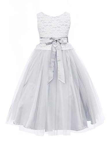 Kiki Kids Flower Girl Elegant Lace Bodice With Tulle Skirt 8 Silver