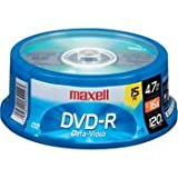 Maxell DVD-R 15PK SPN 16X Write-once DVD-R Spindle, 15 Pack