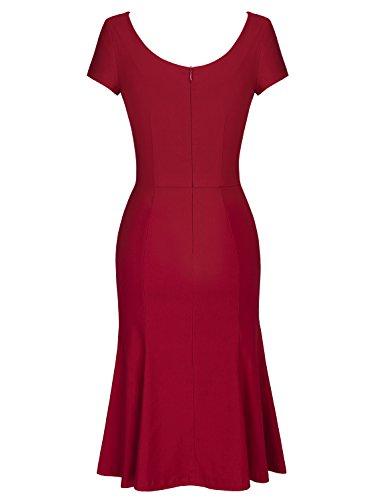MUXXN Women's Cap Sleeve Vintage Scoop Neck Bodycon Pencil Dress 1