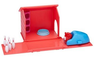 Disney Club Penguin Puffle World Playset Bowling Alley with Red Puffle 1 Inch Mini Figure Includes Coin with Code!