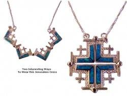 Sterling Silver Jerusalem Cross  Opal Stones