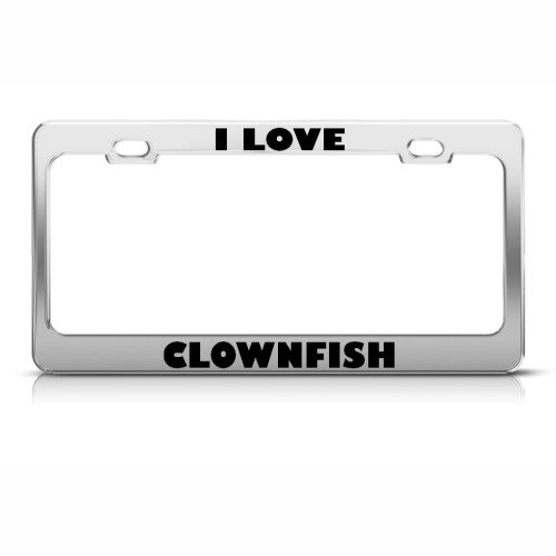 I Love Clownfish Fish Animal License Plate Frame Stainless Metal Tag Holder (Fancy Clownfish)