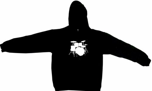 Drum Set Logo Drumset Men'S Hoodie Sweat Shirt Xxl (2Xl), Black