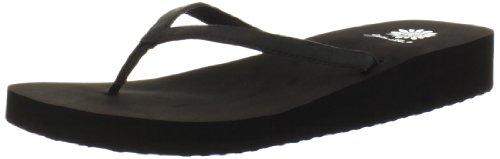 Womens Black Flip Flops front-488611