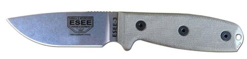 Esee 3P-Uc-Mb Uncoated Fixed Blade Knife W/ Molle Back Sheath And Coyote Tan Molded Polymer Sheath And Clip Plates