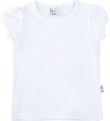 Lovetti Baby Girls' Basic Short Puff Sleeve Round Neck T-Shirt 9-12M White
