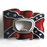 Confederate Flag Bottle Opener Belt Buckle