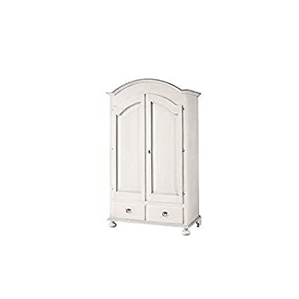 Bedroom Wardrobe, 2 Doors, Wood, White Varnish, Country Provençal Style- as Shown in the Photo