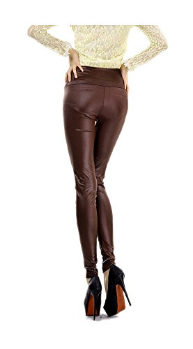ARJOSA Womens Matte Stretch Metallic Full Length Leggings Tights High Waist (Brown)