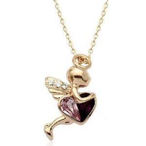 18K Gold Plated Swarovski Crystal Angel of Love Pendant Necklace 18