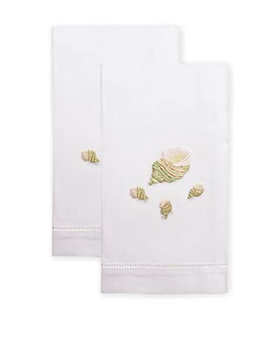 Henry Handwork Set of 2 Green Tulip Shell Embroidered Hand Towels, White