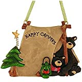 """1 X FLATBACK """"HAPPY CAMPERS"""" TWO BLACK BEARS IN TENT ORNAMENT - Christmas Ornament"""