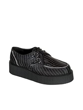 Pinstripe Satin Lace Up Creeper Mens Shoe - 10