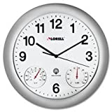 Lorell Analog Temperature/Humidity Wall Clock 12-Inch Silver