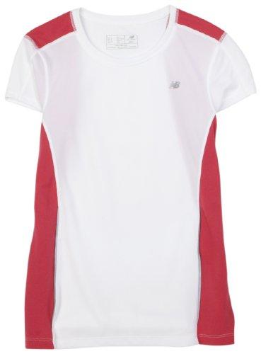 NEW BALANCE maglietta a maniche corte da donna, donna, White/Carmine, XS