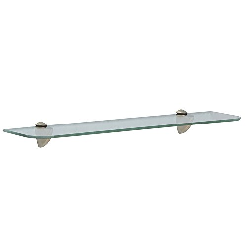 Shelf-Made KT-0134-624SN Glass Shelf Kit, Satin Nickel, 6-Inch by 24-Inch