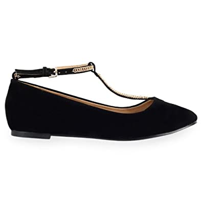 womens black t bar gold flat ballerina casual